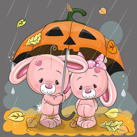 celebrate cartoon: Halloween card Two cute cartoon rabbits with umbrella under the rain Illustration