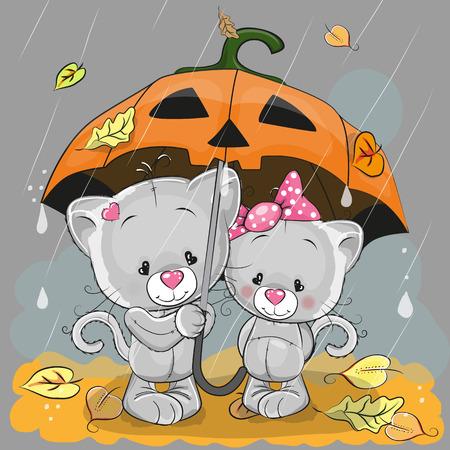 cartoon umbrella: Halloween card Two cute cartoon kittens with umbrella under the rain Illustration