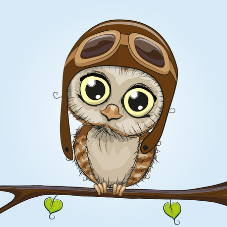 Cute cartoon owl in a pilot hat is sitting on a brunch