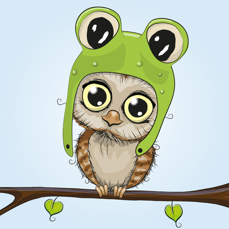 Cute cartoon owl in a frog hat is sitting on a branch
