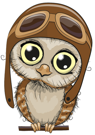 Cute cartoon owl in a pilot hat on a white background Çizim