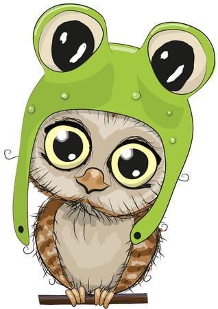 rana caricatura: Búho lindo de la historieta en un sombrero de rana en un fondo blanco Vectores