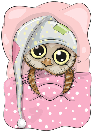 Cute Cartoon Sleeping Owl with a hood in a bed