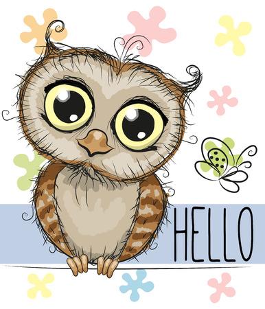 pajaro caricatura: Búho lindo de la historieta y una mariposa en un fondo floral
