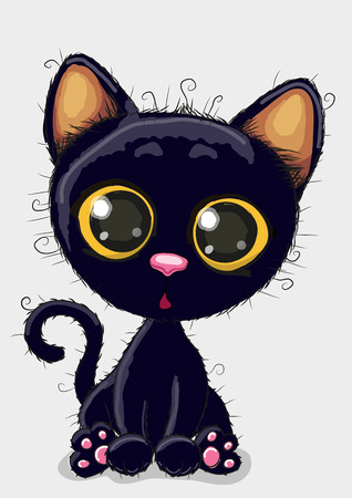 Cute Cartoon black kitten on a white background Çizim