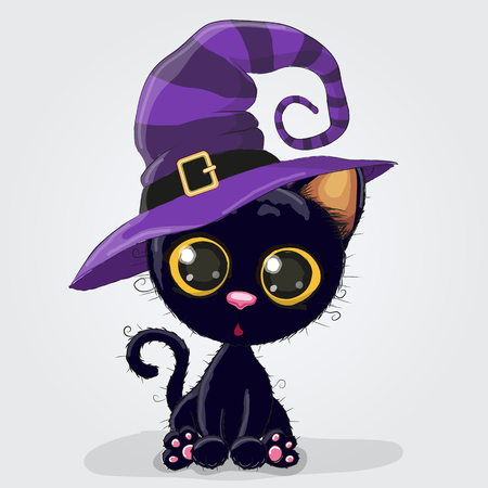 Cute Cartoon black kitten in a halloween hat Çizim