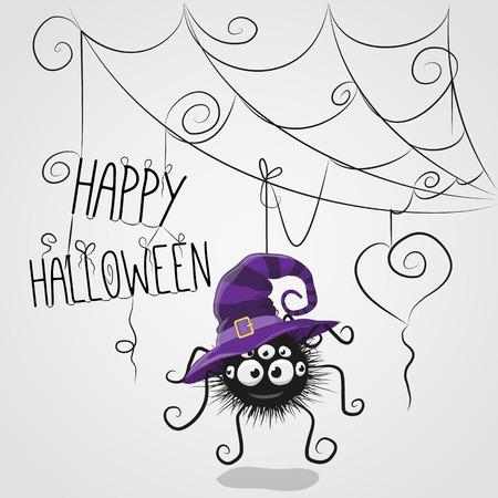 czarownica: Cute cartoon Pająk w kapeluszu czarownicy wisi w internecie