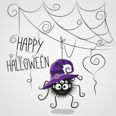 witch: Cute cartoon spider in a witch hat is hanging on the web