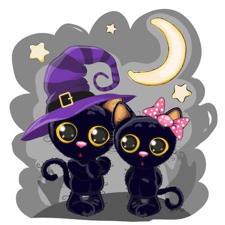 Halloween card Two cute cartoon black kittens on the night meadow