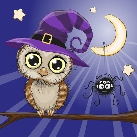 Cute cartoon owl in a witch hat is sitting on a branch Stock Illustratie