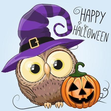 Halloween illustratie van de Uil van de Cartoon met pompoen op een blauwe achtergrond
