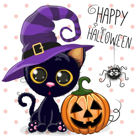 dedicate: Halloween illustration of Cartoon cat with pumpkin on a dots background