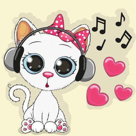 gato caricatura: Vaca linda de la historieta con los auriculares Vectores