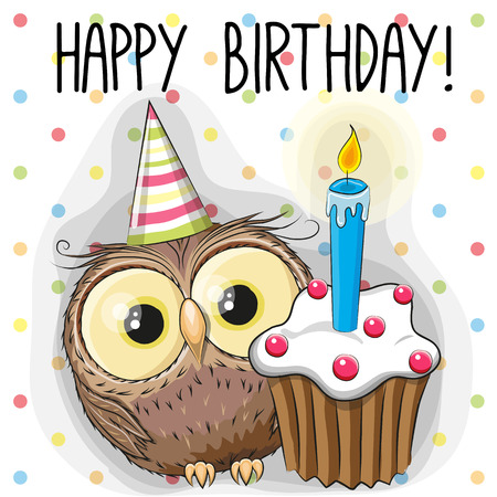 animal  bird: Greeting card cute Cartoon Owl with cake