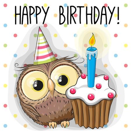 pajaro caricatura: Tarjeta de felicitación del búho de dibujos animados lindo con la torta Vectores