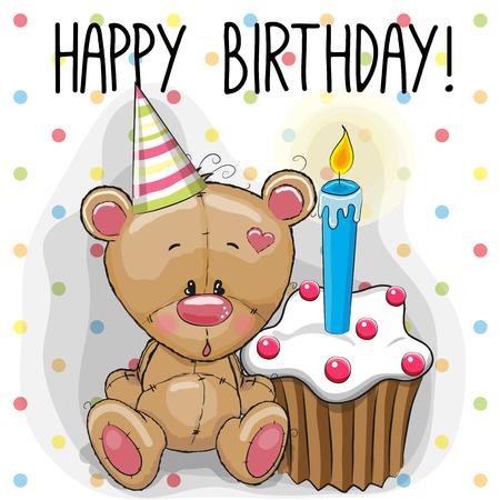 oso: Tarjeta de felicitación linda del oso de peluche con la torta