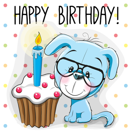 baby love: Greeting card cute Cartoon Puppy with cake