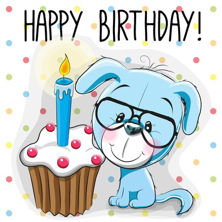 cartoon cake: Greeting card cute Cartoon Puppy with cake