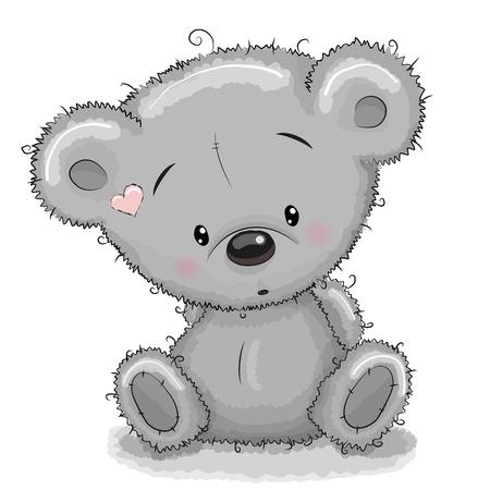 caricaturas de animales: Lindo peluche oso de dibujos animados aislado en un fondo blanco