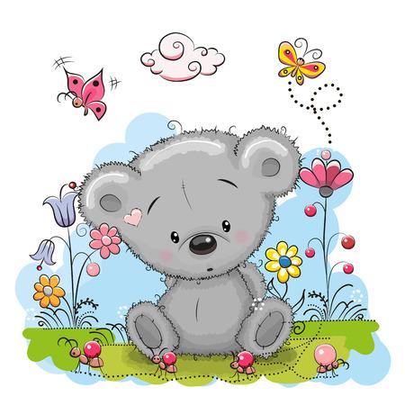 Oso de peluche lindo de la historieta con flores y mariposas en un prado Vectores