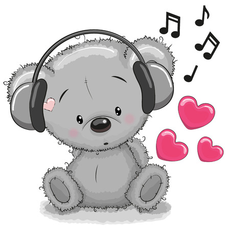 teddybear: Cute cartoon Teddy Bear with headphones Illustration