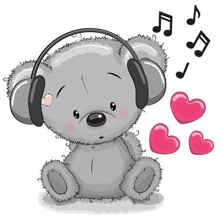 cute bear: Cute cartoon Teddy Bear with headphones Illustration