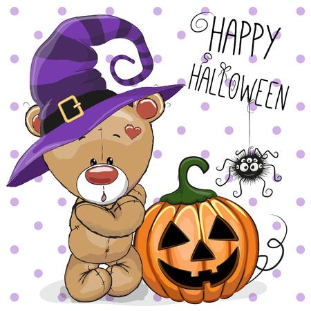 brujas caricatura: Ilustración de Halloween del oso de la historieta con la calabaza en un fondo puntos Vectores