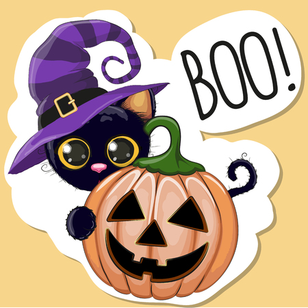 brujas caricatura: Ilustración de Halloween del gato de la historieta con la calabaza Vectores