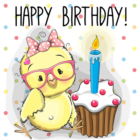 Greeting card cute Cartoon Chicken with cake Çizim