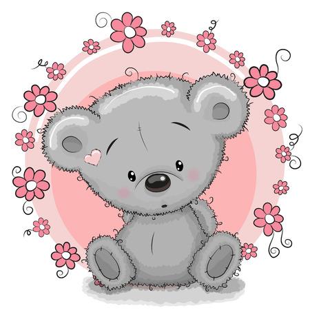 꽃과 카드 곰 인사말