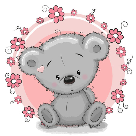 Greeting card Bear with flowers