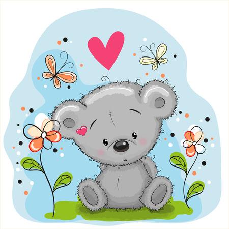 papillon dessin: Teddy Bear mignon avec des fleurs et des papillons sur la prairie
