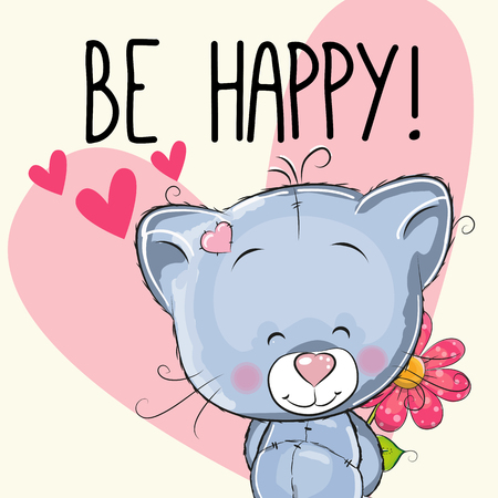 be happy: Be Happy Greeting card Cute with hearts and a flower Illustration