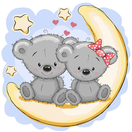 two face: Two Cute Bears is sitting on the moon Illustration