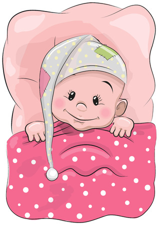 Cute Cartoon Sleeping Baby with a hood in a bed Çizim