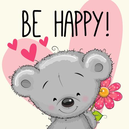 flores de cumpleaños: Sea tarjeta de felicitación feliz del oso de peluche con el corazón y una flor
