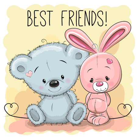 love and friendship: Cute Bear and rabbit on a yellow background
