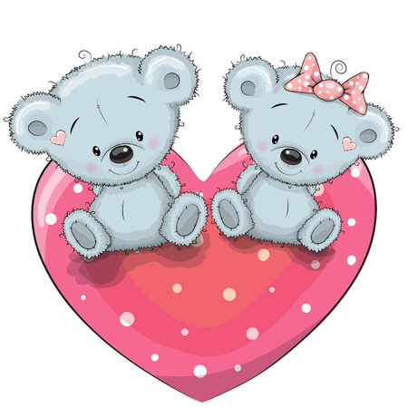 Two cute Teddy Bears is sitting on a heart Ilustração