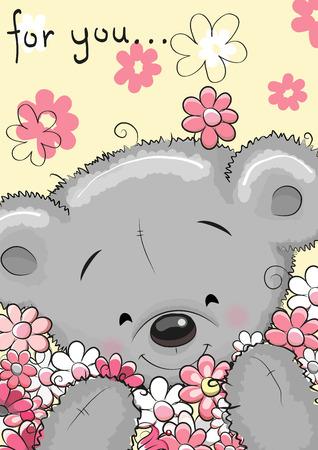 花のグリーティング カードのかわいい漫画テディベア