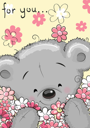 sad cartoon: Greeting card Cute Cartoon Teddy bear with flowers Illustration