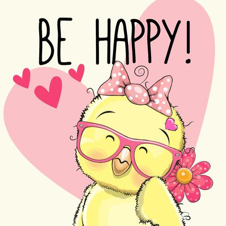 caricaturas de animales: Sé feliz pollo Tarjeta de felicitación con corazones y una flor