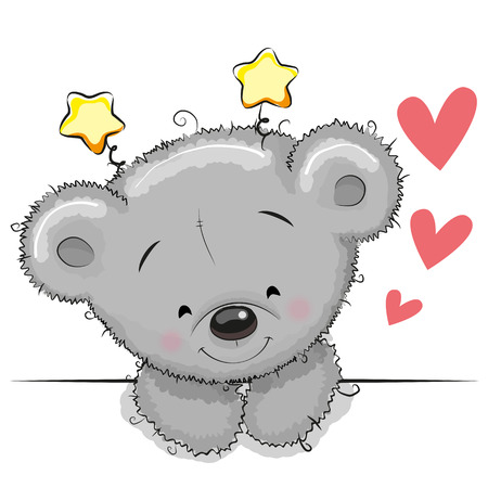 Be Happy Greeting card cute Teddy Bear with hearts Illustration