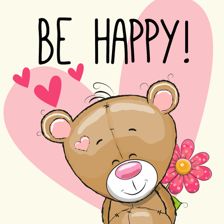 pink teddy bear: Be Happy Greeting card teddy Bear with hearts and a flower