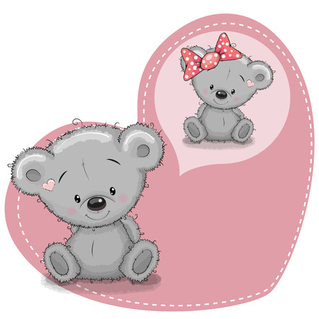 animal cartoon: Greeting card Cute cartoon Dreaming Teddy Bear Illustration