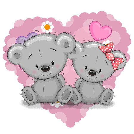 valentines: Two Cute Cartoon Bears on a background of heart