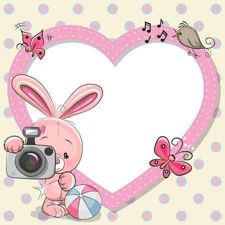 Cute cartoon Rabiit with a camera and a heart frame Çizim