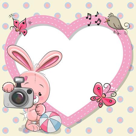 caricaturas de animales: Rabiit linda de la historieta con una cámara y un marco del corazón Vectores