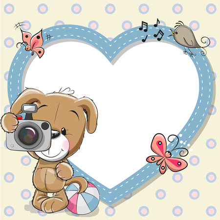 Cute cartoon Puppy with a camera and a heart frame Çizim