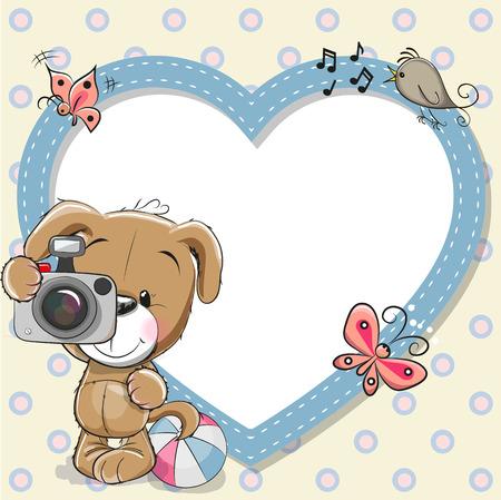 Perrito lindo de la historieta con una cámara y un marco del corazón
