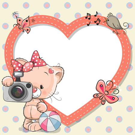 cartoons designs: Cute cartoon Kitten with a camera and a heart frame Illustration